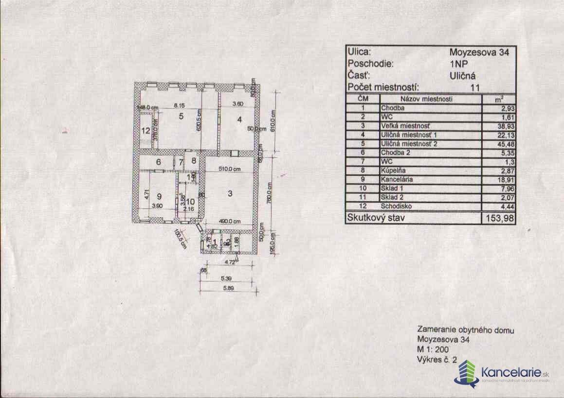 Administratívna budova, Kancelárske priestory, Moyzesova 34, Košice